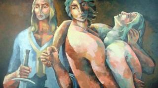 Los hijos de Sheldon (2002), pintura de Alfredo Rosales